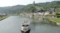 Tourboat on Mosel river at town Cochem Stock Footage