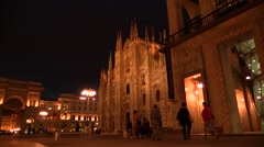 Night View Dome Square and Gallery, Milan Stock Footage