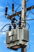 electric post with sky background - stock photo