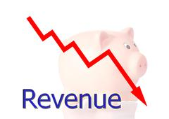 red diagram downwards revenue with piggy bank - stock illustration