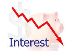 red diagram downwards interest with piggy bank dollar symbol - stock illustration