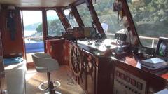 Inside the control cabin of a cruise ship, Greece. Stock Footage