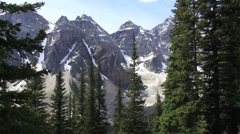 Canada Alberta Eiffel Lake Trail Ten Peaks view  tree frame s Stock Footage