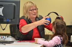 hearing check for pre-school children - stock photo