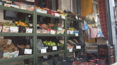 Fruit and vegetables market in a island resort. Summer holiday, evening shopping - stock footage