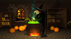 Witch Preparing A Potion In Cauldron With Halloween Pumpkins - stock footage