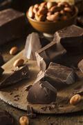 organic dark chocolate chunks - stock photo