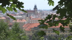 Aerial view panorama Prague architecture landmark old town hall tower blurred  Stock Footage