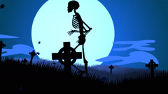 Human Skeletons Walking In Spooky Graveyard. Creepy Haloween Stock Footage