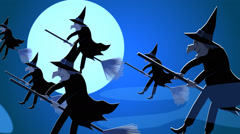 Halloween Witches Flying On Broomstick.Spooky Haloween Stock Footage