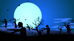 Zombies Walking At Spooky Graveyard. Spooky Scary Haloween Stock Footage