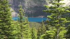Canada Alberta Moraine Lake from Eiffel Lake Trail tree framed  Stock Footage