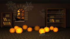 Scary Halloween Pumpkins And Spider In Witch House Stock Footage