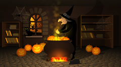 Witch Preparing A Potion In Cauldron With Halloween Pumpkins Stock Footage