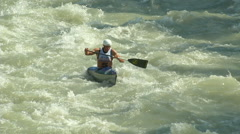 Wildwater canoeing man slow motion 01 Stock Footage