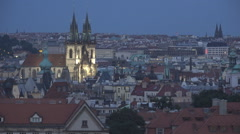 Old town hall tower Prague twilight night illuminated landmark city panorama sky Stock Footage