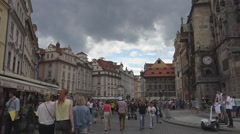 Tourist people Old Town Hall Tower Astronomical Clock Prague pedestrian square  Stock Footage