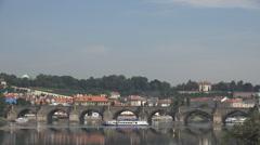 Panorama view Charles bridge Prague city landmark sunny day tourism attraction Stock Footage