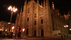 Fire Show at Dome Square, night view Stock Footage