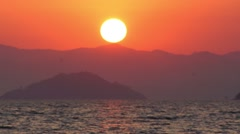 Real-time Sunset Over Mediterranean Ocean and Turkish Mountains (part 2 of 6) Stock Footage