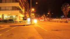 Nightly traffic in Montevideo - stock footage