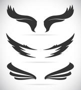 Vector black wing icons set Stock Illustration