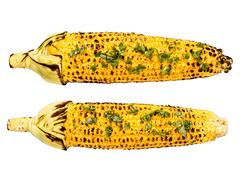 roasted corncob isolated - stock photo