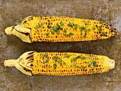Rustic roasted corncob Stock Photos