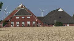 Characteristic farmhouse in  Groningen, The Netherlands - zoom out cornfield Stock Footage