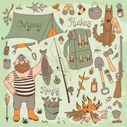 Fishing, hunting, camping set. Stock Illustration