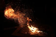 Sparks coming of of fire Stock Photos