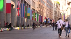 Flags of the World Expo 2015 Milan Corso Vittorio Emanuele Stock Footage