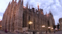 Milan, Dome Square wide angle. Tourists and cyclists Stock Footage