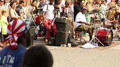 Acrobat front flip over volunteer Washington Square Park Manhattan NYC Stock Footage
