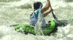 Wildwater canoeing man slow motion 12 Stock Footage