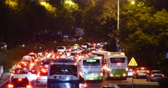 4k Modern urban city busy traffic jams night,neon highway street&building. Stock Footage