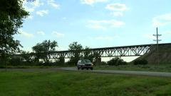 Western Kansas Summer Bridge and SUV Stock Footage