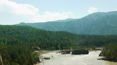 Summer landscape. Mountains, river and the blue sky with clouds. Timelapse. - stock footage