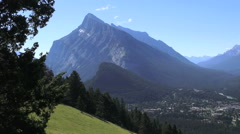 Canada Banff view of town & Tunnel Mountain Stock Footage