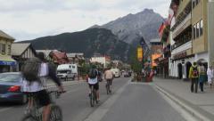 Canada Alberta Banff street scene with trailer and bikes Stock Footage