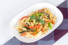 chicken with spicy basil leaf - stock photo