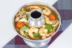 Spicy and sour shrimp tom yum Stock Photos
