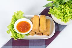 Fried vegetable egg roll, spring roll Stock Photos