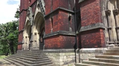 Gothic church vertical panorama camera moves up Stock Footage