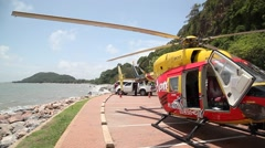 Stock Video Footage of fuil refilling in the Helicopter