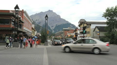 Canada Banff downtown with pedestrians  Stock Footage