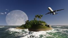 airliner passing over palm trees - stock illustration