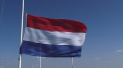 Dutch flag at half-mast Stock Footage