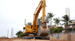 Excavator at Construction Site. - stock footage