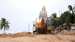 Mechanical Digger on the Beach. Speed up. Stock Footage